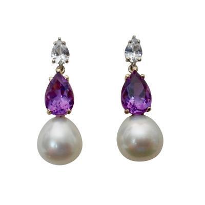 Michael Kneebone Michael Kneebone White Sapphire Amethyst South Seas Pearl Dangle Earrings
