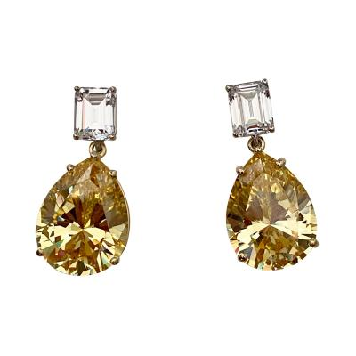 Michael Kneebone Michael Kneebone White Sapphire Golden Topaz Dangle Earrings