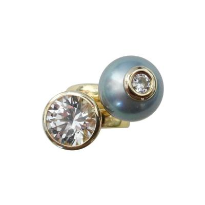 Michael Kneebone Michael Kneebone White Sapphire Tahitian Pearl Diamond Stacking Leah Rings
