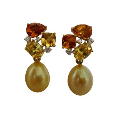 Michael Kneebone Michael Kneebone Yellow Sapphire Topaz Citrine Diamond Pearl Confetti Earrings