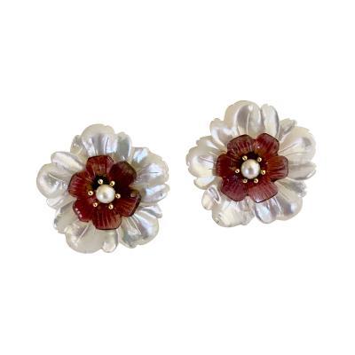 Michael Kneebone Pearl Pink Tourmaline Mother of Pearl Flower Earrings