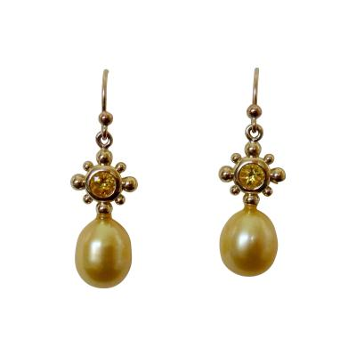Michael Kneebone Yellow Sapphire Golden South Seas Pearl 18K Yellow Gold Dangle Earrings