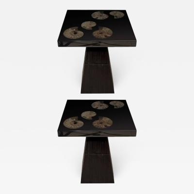 Michael Laut Pair of Cast Black Resin and Ammonite Side Tables by Michael Laut
