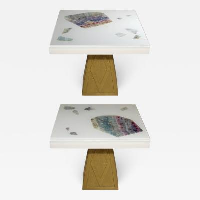 Michael Laut Pair of Cast Resin and Flourite Coffee Tables by Michael Laut