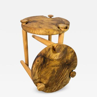 Michael Rozell Pair of Side Tables in White Oak Burl Top by Michael Rozell