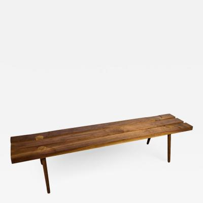Michael Rozell Studio Slat Bench by Michael Rozell in Walnut and White Oak Inlays
