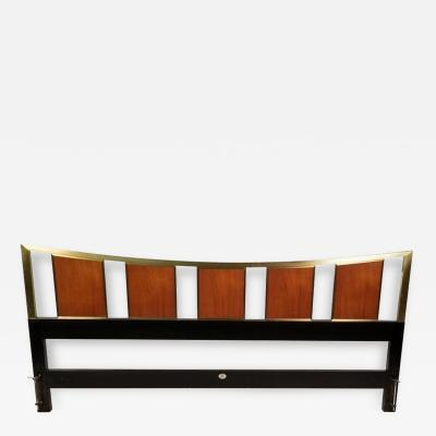 Michael Taylor Michael Taylor Brass Teak King Headboard for the Baker Far East Collection