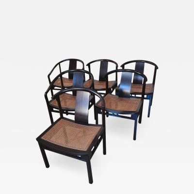 Michael Taylor Michael Taylor Six Caned Dining Chairs for Baker circa 1954
