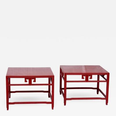 Michael Taylor Pair Michael Taylor Cinnabar Side Tables Baker Far East Collection C 1960