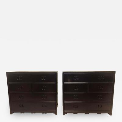 Michael Taylor Pair of Hollywood Regency Style Ebony Michael Taylor Designed Chests for Baker