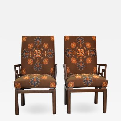 Michael Taylor Pair of Michael Taylor for Baker Greek Key Armchairs Far East Collection