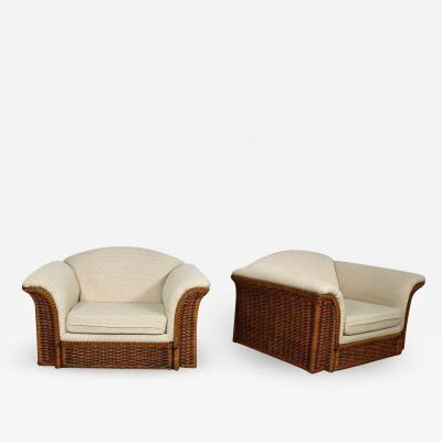 Michael Taylor Rattan wicker pair of oversized lounge chairs manner of michael taylor