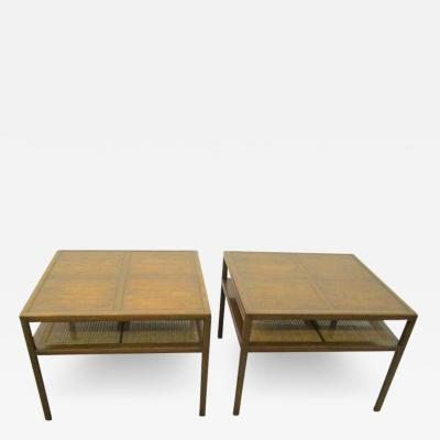 Michael Taylor Stunning Pair Michael Taylor Baker Square Walnut and Caned Side Tables