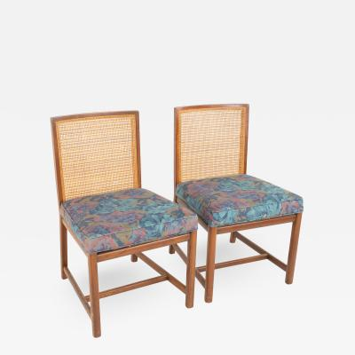 Michael Taylor for Baker Mid Century Caned Walnut Dining Chairs Pair