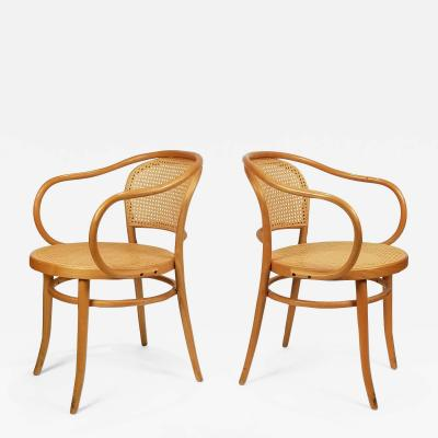 Michael Thonet Pair of Michael Thonet Solid Beechwood and Cane no 209 Armchairs