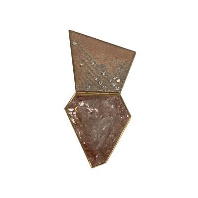 Michael Zobel 18 K Rose Gold Platinum Morganite Diamond Trapezoid Shaped Brooch
