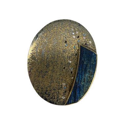 Michael Zobel Oval Rainbow Hematite Diamond Brooch Pendant in Gold Silver