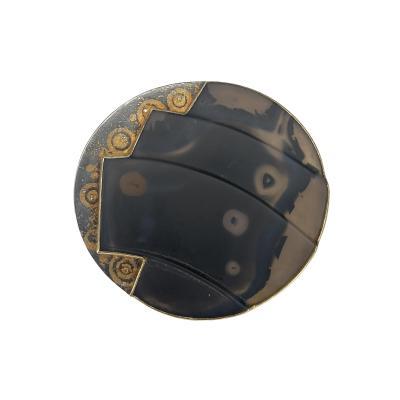 Michael Zobel Pure Gold Oxidized Silver Agate Diamond Brooch Pendant
