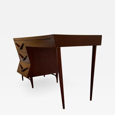Michael van Beuren 1950s Refined Floating Desk Mexican Mahogany Fabulous Form Tall Tapered Legs