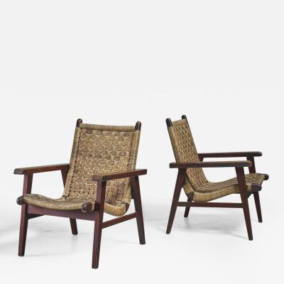 Michael van Beuren Pair Van Beuren attributed Armchairs with Woven Cord Seating Mexico