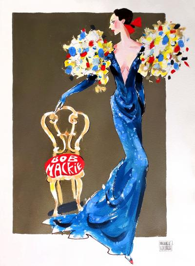 Michaele Vollbracht Fashion Illustration of Elegant woman in Bob Mackie dress perhaps for Cher