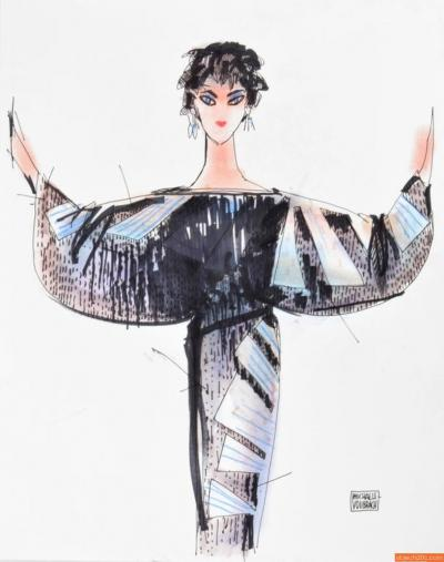 Michaele Vollbracht Michaele Vollbracht Fashion Drawing of Liz Taylor