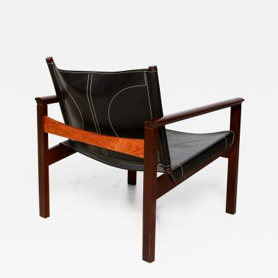 Michel Arnoult Safari Armchairs Leather and Rosewood Michel Arnoult