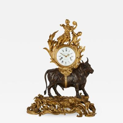 Michel Balthazar Louis XV style gilt and patinated bronze mantel clock by Balthazar