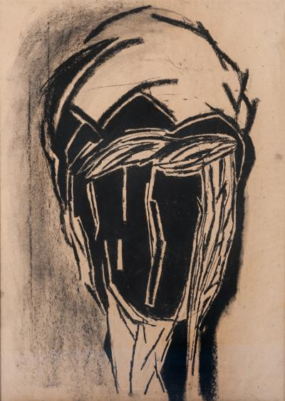 Michel Batlle Charcoal Drawing Black Beige Michel Batlle 1987 Handworked Frame Museums Glass