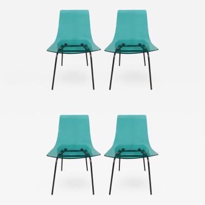 Michel Blondeau Michel Blondeau Set of Four Saint Gobain Glass Chairs Edition France c 1958