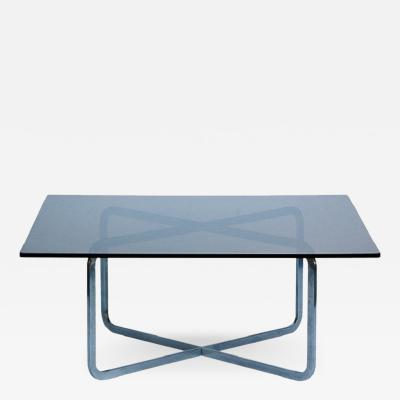 Michel Boyer Brushed Steel and Smoked Glass Coffee Table in the Style of Michel Boyer