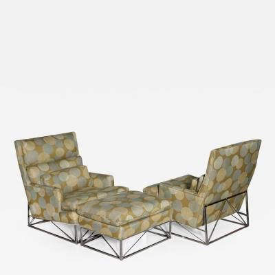 Michel Boyer Fine Pair of Michel Boyer Chrome High Back Chairs and Ottoman