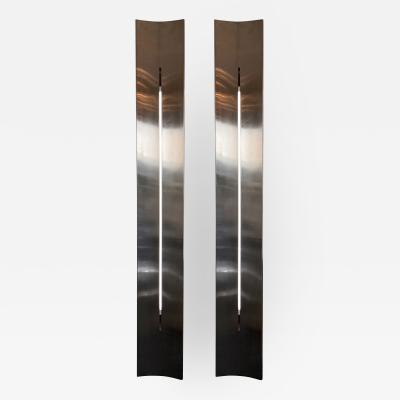 Michel Boyer Large Stainless Steel Pannel Sconces France 1970s