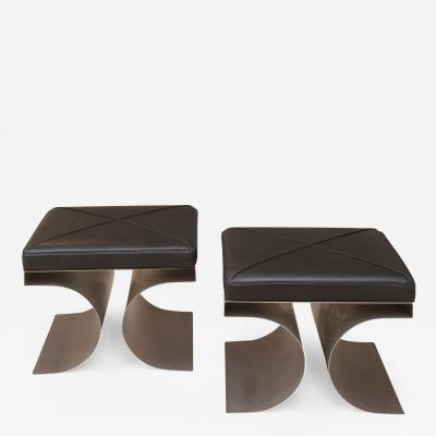 Michel Boyer Pair of Tabourets Stools