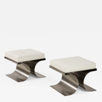 Michel Boyer Pair of X Stainless Steel and White Leather Stools