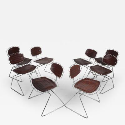 Michel Cadestin Georges Laurent Leather and Metal Beaubourg Chairs by Michel Cadestin and Georges Laurent