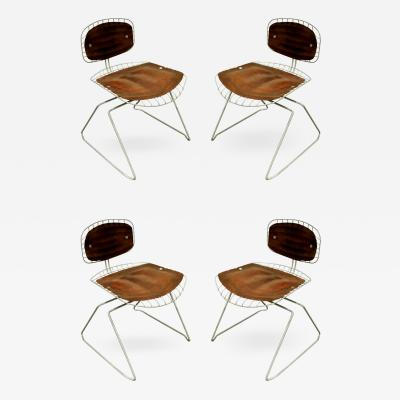 Michel Cadestin Georges Laurent Michel Cadestin Georges Laurent Set of 4 Beaubourg Dining Chairs 1976