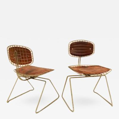 Michel Cadestin Georges Laurent Michel Cadestin Pair of Modernist Chairs in Steel and Leather Model Beaubourg