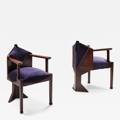 Michel De Klerk Dutch Art Deco Amsterdamse school pair of armchairs 1950s
