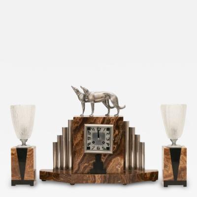 Michel Decoux French Art Deco Borzoi Clock by Michel Decoux