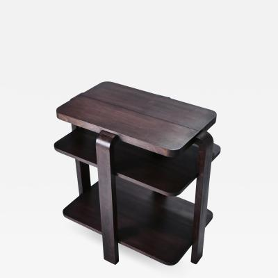 Michel Dufet French art deco modernist mahogany side table 1940 s