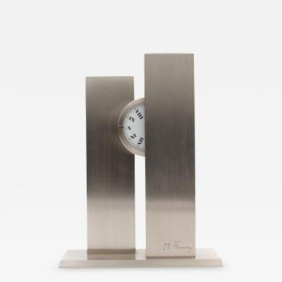 Michel Fleury French Sculptural c1970s Stainless Steel nycthemeral Clock by Michel Fleury