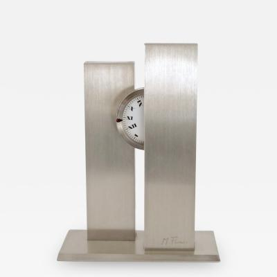 Michel Fleury MICHEL FLEURY FRENCH STAINLESS STEEL DESK CLOCK