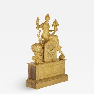Michel Fran ois Piolaine Empire gilt bronze mantel clock by Michel Fran ois Piolaine