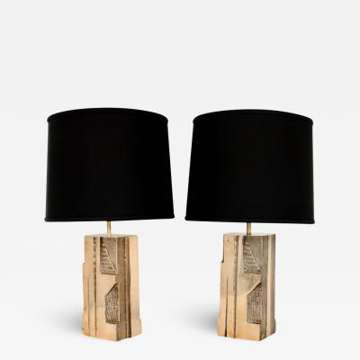 Michel Mangematin MICHEL MANGEMATIN CAST BRONZE SCULPTURAL PAIR OF FRENCH TABLE LAMPS CIRCA 1970