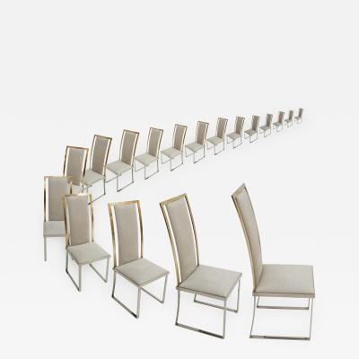 Michel Mangematin Michel Mangematin Eighteen Steel And Brass Grey Chairs France 70s