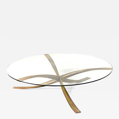 Michel Mangematin Michel Mangematin iconic bronze and glass coffee table