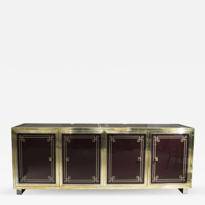Michel Pigneres Burgundy Glass Sideboard by Michel Pigneres France 1970s