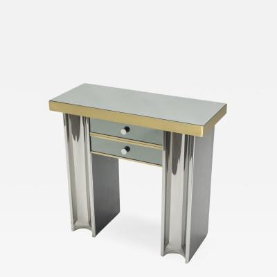 Michel Pigneres Small Hollywood Regency mirrored and brass French console table 1970s