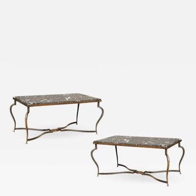 Michel Zadouna sky Michel Zadounaisky Rare Pair of 1930 Art Deco Coffee Tables